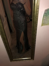 Strapless black sequence formal/prom dress