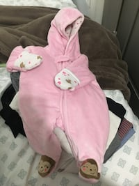 pink full-zip hooded footsie