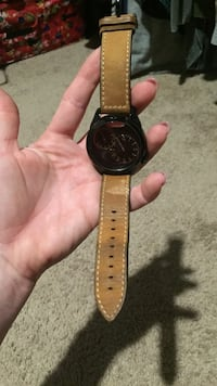 round black chronograph watch with brown leather strap Bogart, 30622