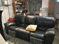 Blue leather recliner couch null