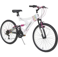 white and black full-suspension bike 45 km
