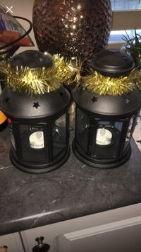 "$10 for both Lantern for tealight, black indoor/outdoor black, 8 ¼ "" Toronto, M3L 0G6"