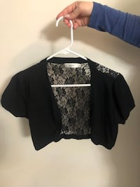 Black Laced Short Sleeved Cardigan Markham