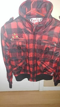 red and black check Firefly zip-up hoodie