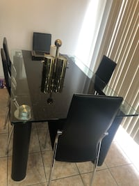Marble top glass dinning table with 6 chairs Toronto, M1B 6G5