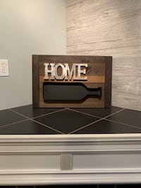 Rustic Sign Home & Wine Bottle