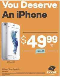 NEW/NUEVO iPhone 6s for $49.99 when you get service with Boost Mobile in Norwalk Town Square! NORWALK