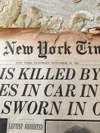 2 NY Times 1963 JFK Assassion News Papers Morristown, 07960