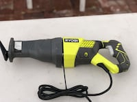 black and green Ryobi corded angle grinder 2259 mi