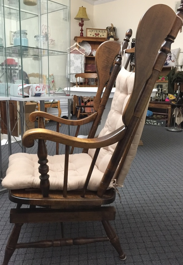 Maple wingback wooden rocking chair (spring type rocker) - Used Maple Wingback Wooden Rocking Chair (spring Type Rocker) For