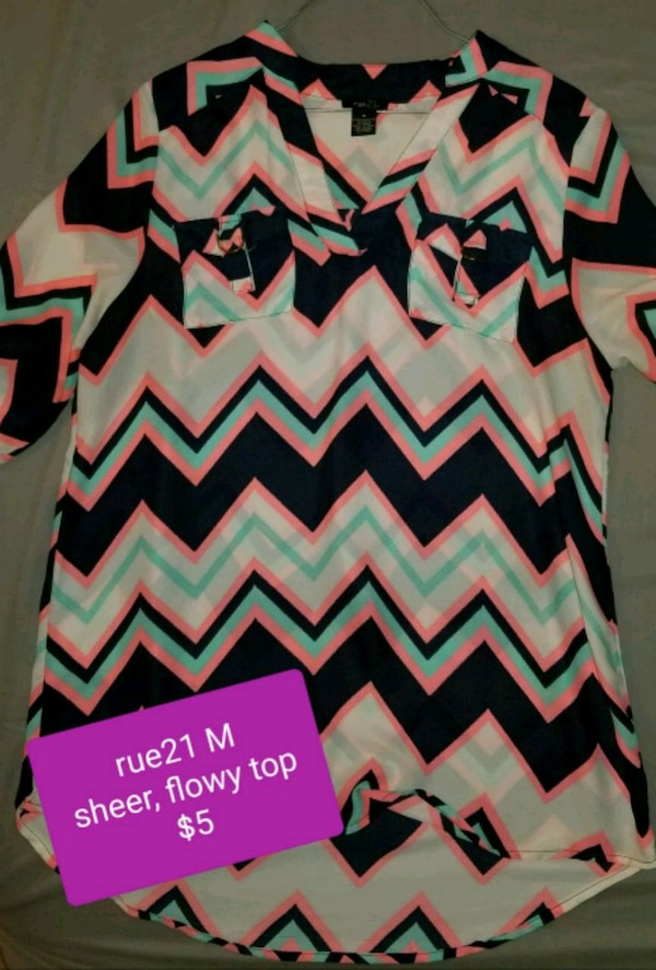 d8de4cc5038e39 Used Off white, navy, and neon pink chevron print top for sale in Knoxville