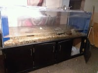brown wooden framed glass fish tank