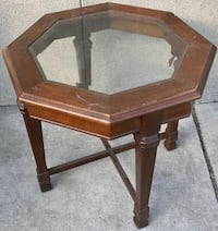 Octagonal Glass Panel Top End Table