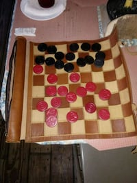 Real leather roll up chess and checker game Chauvin, 70344