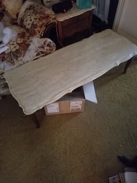 Vintage end tables and coffee table with marble tops. One square end table and two circular end tables. Easton, 18042
