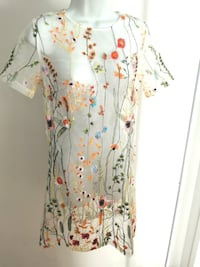 NWT Sheer Floral Embroided Dress CoverUp Top S Burnaby
