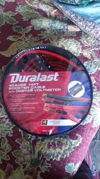 Durlast 14ft booster cable with digital voltmeter