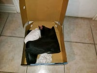 black leather chunky heeled boots in box Montréal, H1N 0B5