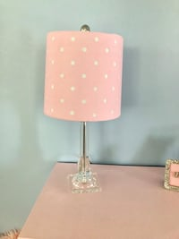 Table Top Lamp, clear acrylic base with pink shade with polka dots cutouts West Hartford, 06117