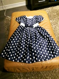 Blue and white satin polka dot dress sz 5 Toronto, M9C 2N3