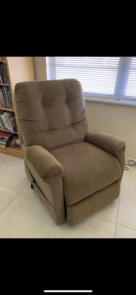 Montreal Coffee Fabric Power Lift Chair