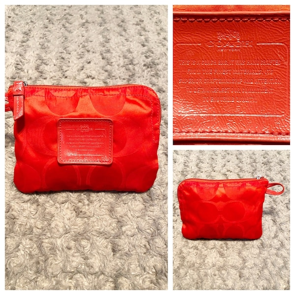 Coach wristlet red monogram great condition