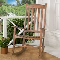 OUTDOOR WOOD ROCKING CHAIR ASSEMBLED HAS MINOR DAMAGE 27 in L x 35 in W x 45.79 in H