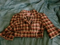brown and black plaid button up jacket Laredo, 78046