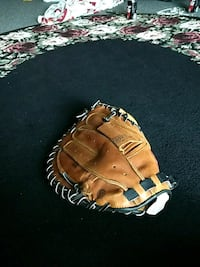 brown and white leather baseball mitt Highland, 48357