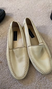Men's Cream slip on leather dress shoes