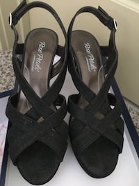 Pair of black strappy sling back sandals, size 8 1/2N Cary, 27513