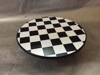white and black checkered print ceramic plate Baltimore, 21224