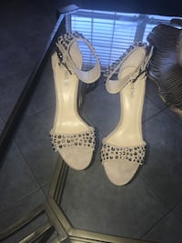 pair of white leather open-toe heeled sandals Wesley Chapel, 33544
