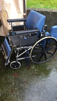 blue and black medical wheelchair