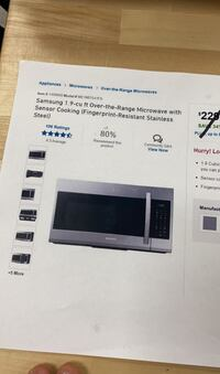 Samsung 1.9cu ft over the range microwave (stainless steel)