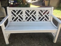 white wooden bench with white and black floral pad Bakersfield, 93312