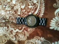 round silver-colored analog watch with link bracelet 254 mi