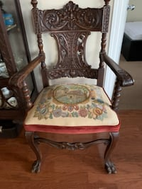 brown wooden framed white and red floral padded armchair 539 km