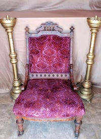 Antique Throne with pair of Pascal Candlesticks