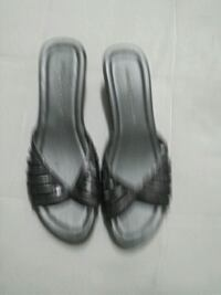 pair of black leather open-toe heeled sandals Windsor, N8X 3X7