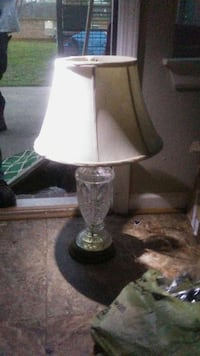 clear glass base white shade table lamp Beebe, 72012