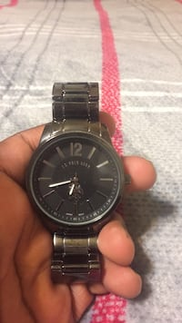 round black Fossil chronograph watch with link bracelet Stone Mountain, 30083