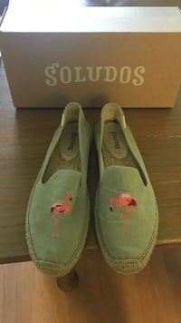 Gblue and pink Soludos slip-ons with flamingo patch