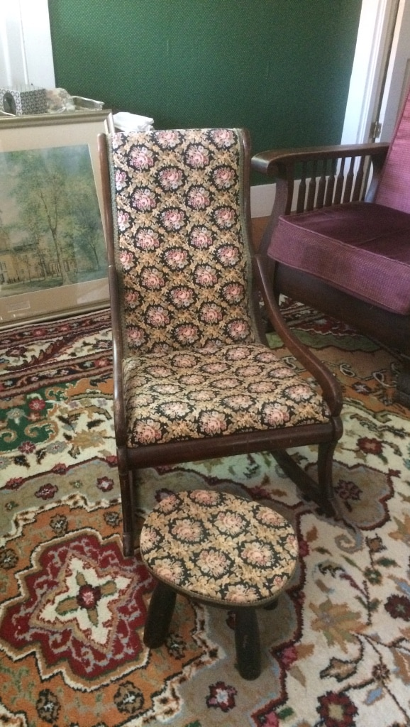 Brown Wooden Padded Rocking Chair With Round Brown Wooden Seat