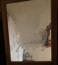 Flying Unicorn etched on mirror