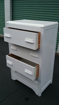 Vintage Wooden  (4) Drawer Chest painted White
