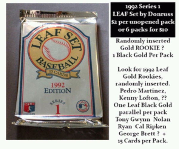 Vintage Baseball Card Unopened 92 Leaf Set Packs