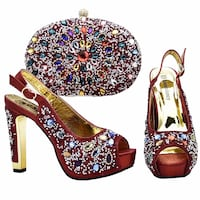black, white, and red floral leather stiletto Toronto, M9N 3S3