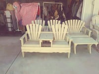 white wooden yard furniture. Los Angeles, 91342