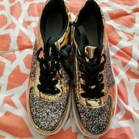 Gold and White sparkling wedge sneakers Elkridge, 21075